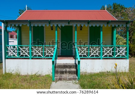 colonial caribbean house - stock photo