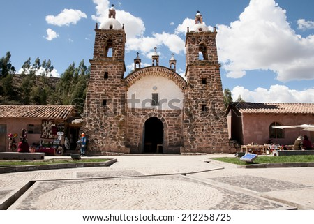 Colonial Church - San Pedro - Peru - stock photo
