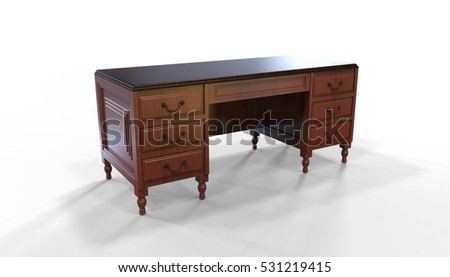 Colonial Desk in Cherry Wood 3D Illustration on white background