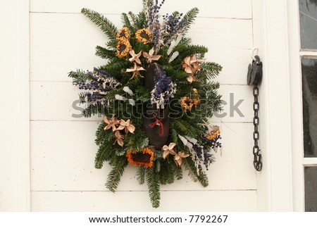 Colonial Holiday Wreath - stock photo
