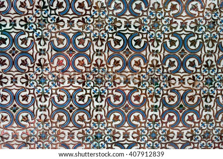 Colonial house architecture Vintage floor tiles with black, and blue as a decorative design - stock photo