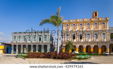 Colonial houses facing Serafin Sanchez Park, Sancti Spiritus, Cuba