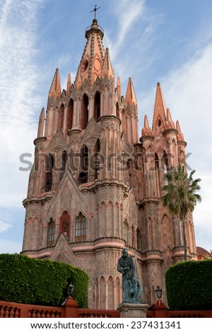 colonial spanish cathedral in san miguel de allende guanajuato - stock photo