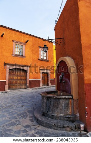 colonial spanish street in San Miguel de Allende - stock photo