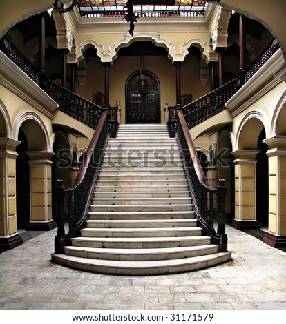 Colonial staircase at Archbishops Palace in Lima Peru - stock photo