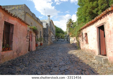 Colonial street and houses.  Colonia.  Uruguay.