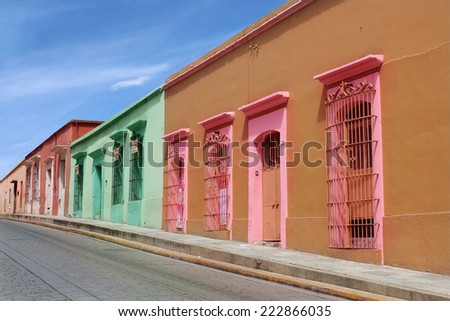 Colonial Street in Oaxaca - stock photo