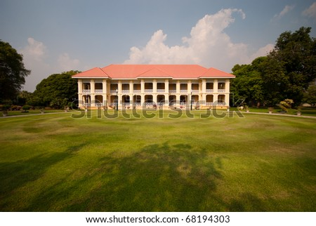 Colonial style Building in private grounds in Thailand - stock photo