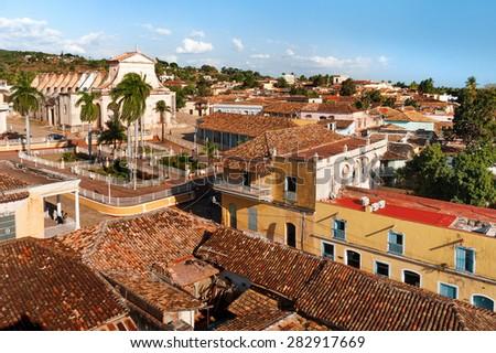 Colonial town cityscape of Trinidad, Cuba. UNESCO World Heritage Site. - stock photo