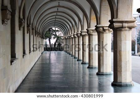 Colonnade at Joseph Stalin museum in his hometown of Gori, Georgia - stock photo