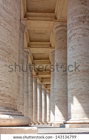 Colonnade in Piazza San Pietro (St Peter's Square) in Vatican - stock photo