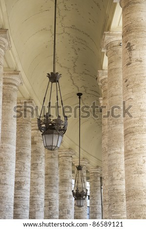 Colonnade in Piazza San Pietro (St Peter's Square) in Vatican