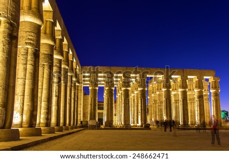 Colonnade in the Luxor temple - Egypt - stock photo