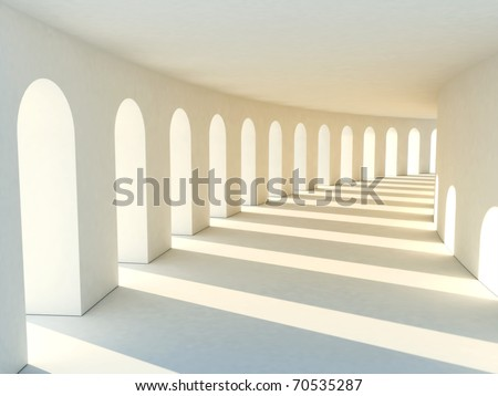 Colonnade in warm tones with deep shadows. Illustration - stock photo