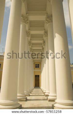 Colonnade of Alexander Palace in Tsarskoe Selo, Russia