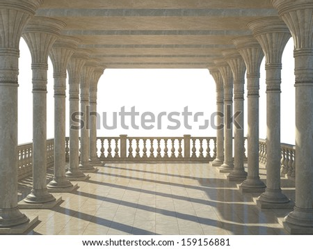Colonnade of ancient columns. Isolated on white - stock photo
