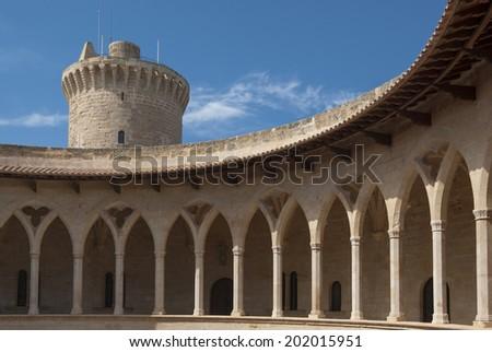 Colonnade of Bellver castle, Palma of Mallorca, Spain - stock photo