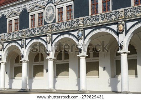 Colonnade of old Stables Courtyard (Stallhof) with arched vaults in Dresden, Saxony, Germany. - stock photo