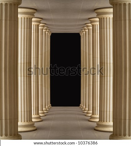 Colonnade of Pushkin Gallery,outdoor, Moscow.Black center for next design - stock photo