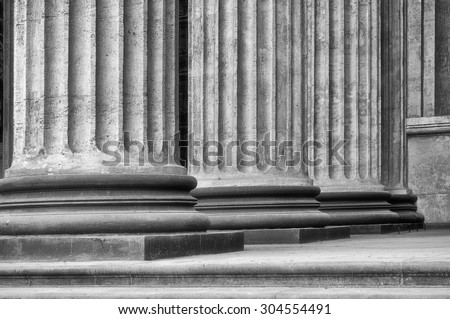 Colonnade of the Kazan Cathedral in Saint-Petersburg, Russia (black and white  processing)