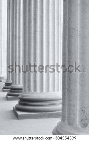 Colonnade of the Kazan Cathedral in Saint-Petersburg, Russia (high key black and white  processing)