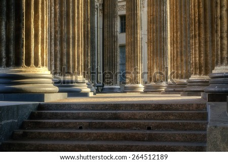 Colonnade of the Kazan Cathedral (soft focus processing) - stock photo