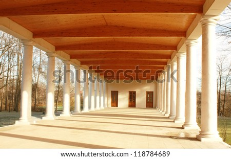 Colonnade of the old-time estates main building