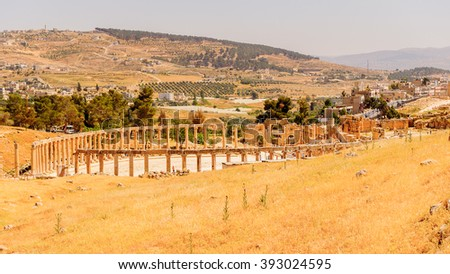 Colonnade on the Roman Oval Forum, Ancient Roman city of Gerasa of Antiquity , modern Jerash, Jordan
