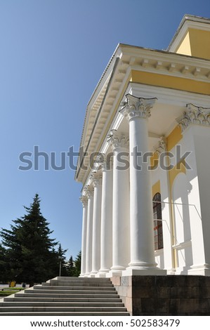 Colonnade Savior Transfiguration Cathedral in Rybinsk. Russia.