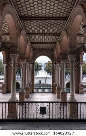 Colonnaded courtyard in the Plaza of Spain in Seville / Plaza of Spain in Seville - stock photo