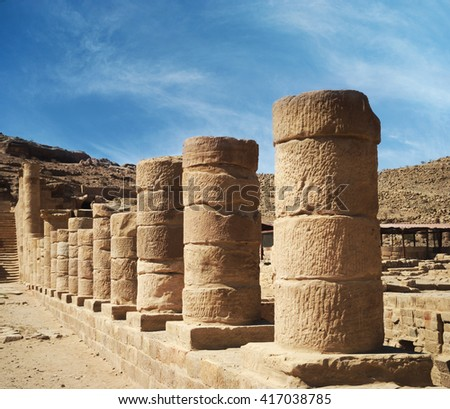 Colonnaded street in ancient town of Petra, Jordan. - stock photo