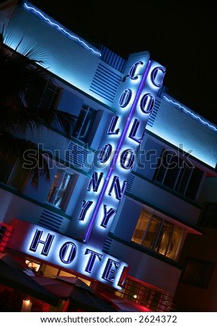 Colony Hotel on Ocean Avenue in South Beach Miami, Florida. (Editorial Use Only) - stock photo