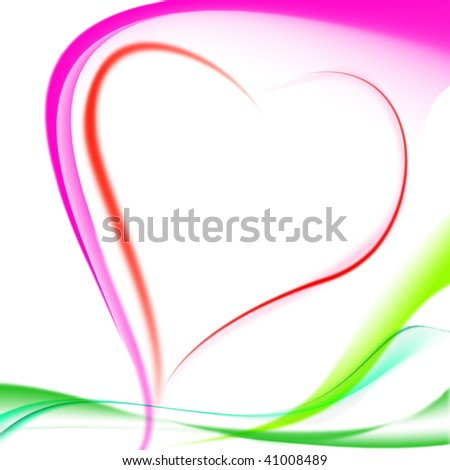 color abstract composition in the form of heart background on Valentine's Day - stock photo