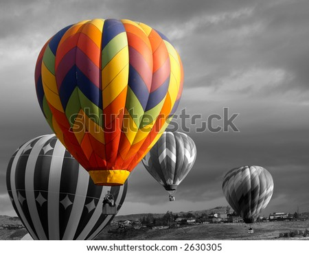 color accented hot air balloon - stock photo