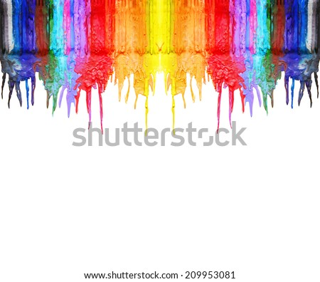 color and texture background series (melted coloring crayons) good for back to school theme or teaching elementary school children primary colors  - stock photo