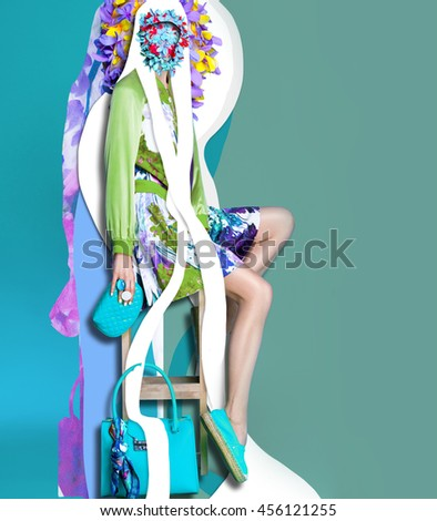 Color art high fashion portrait vogue blond sexy model fine collage with no faces - stock photo