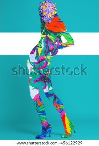Color art high fashion portrait vogue sexy model fine collage with no face - stock photo