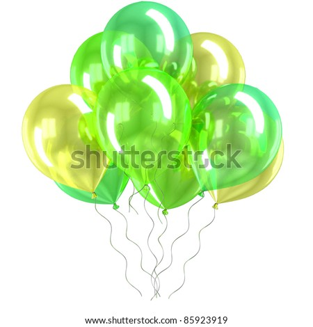 color balloons isolated - stock photo