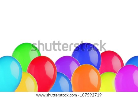 color balloons isolated on white background - stock photo