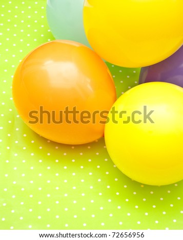 color balloons on the green background - stock photo