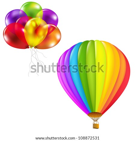 Color Balloons Set, Isolated On White Background - stock photo