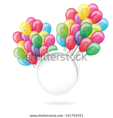 color balloons with banner isolated on white - stock photo