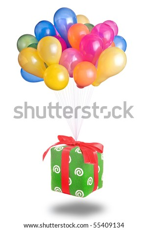 color balloons with gift isolated on white - stock photo