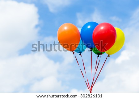 Color balloons wth blue sky