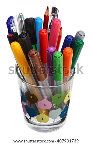 Color ballpoint pens in a glass on white background with Clipping Path - stock photo