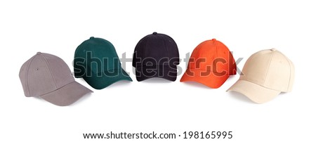 Color baseball caps isolated on white background - stock photo