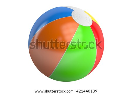 Color beach ball, 3D rendering isolated on white background - stock photo