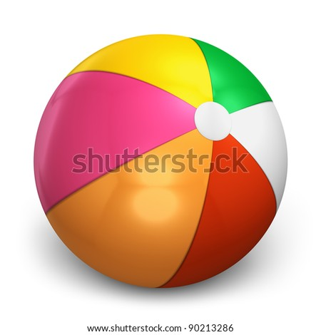 Color beach ball isolated on white background - stock photo