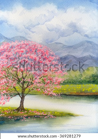 Color beautiful bright watercolour scene in japanese handmade style on paper backdrop with space for text. White cumulus in blue heaven over lush rose flourish peach seedling on mist island on stream - stock photo