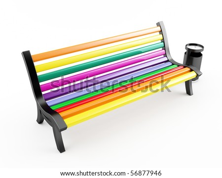 Color bench on white